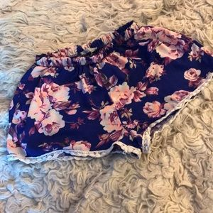 Charlotte Russe floral shorts S M neon & royalblue